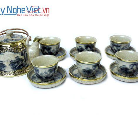 Bộ bình trà men rạn boc đồng MNV-TS157
