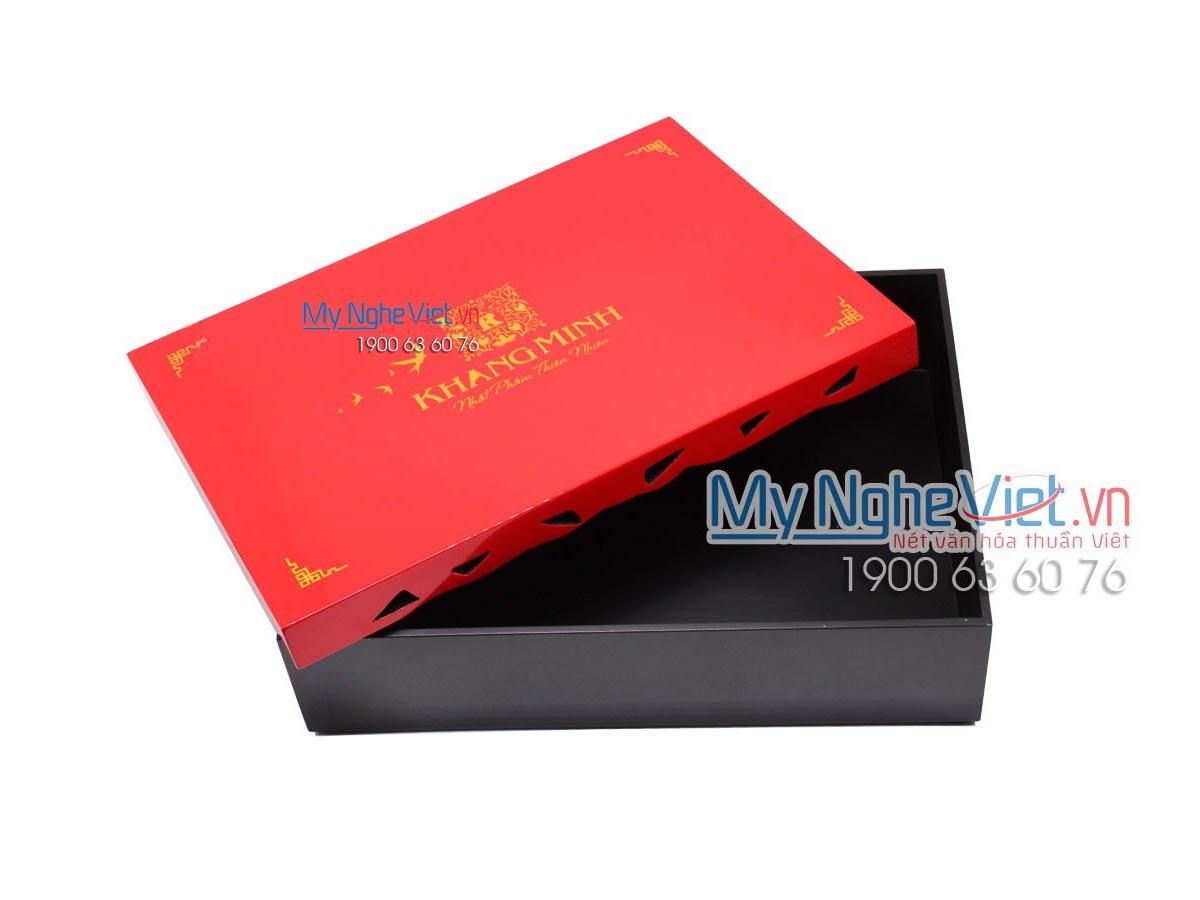 Hộp sơn mài đựng bánh Trung Thu in logo MNV-HSMTT01
