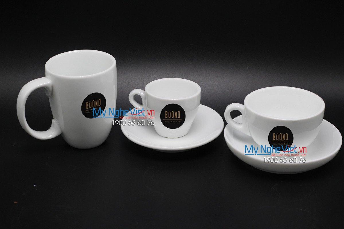 Bộ ly sứ cà phê Espresso Capuccino Latte in logo MNV-HDLS001