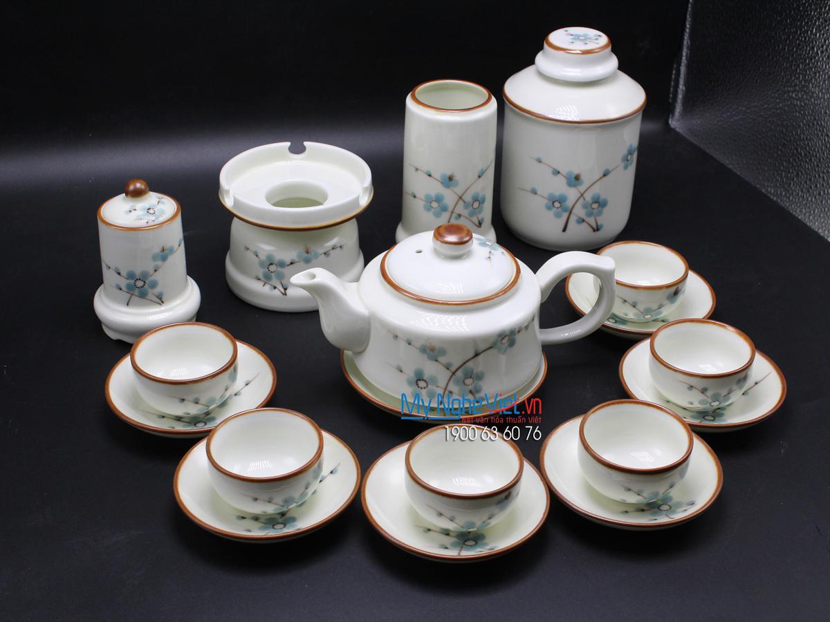 Bộ bình trà men trắng vẽ đào xanh MNV-CBBT01-2