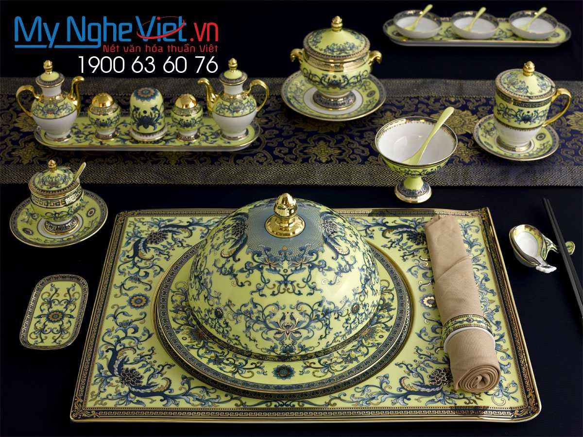 Bộ bàn ăn cá nhân Hoàng Liên 29 sản phẩm phục vụ Nguyên Thủ Apec MNV-2901NT460