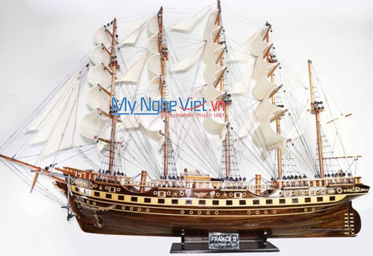 Mô hình tàu thuyền chở hàng France II gỗ đen (thân 1m5) MNV-TB18