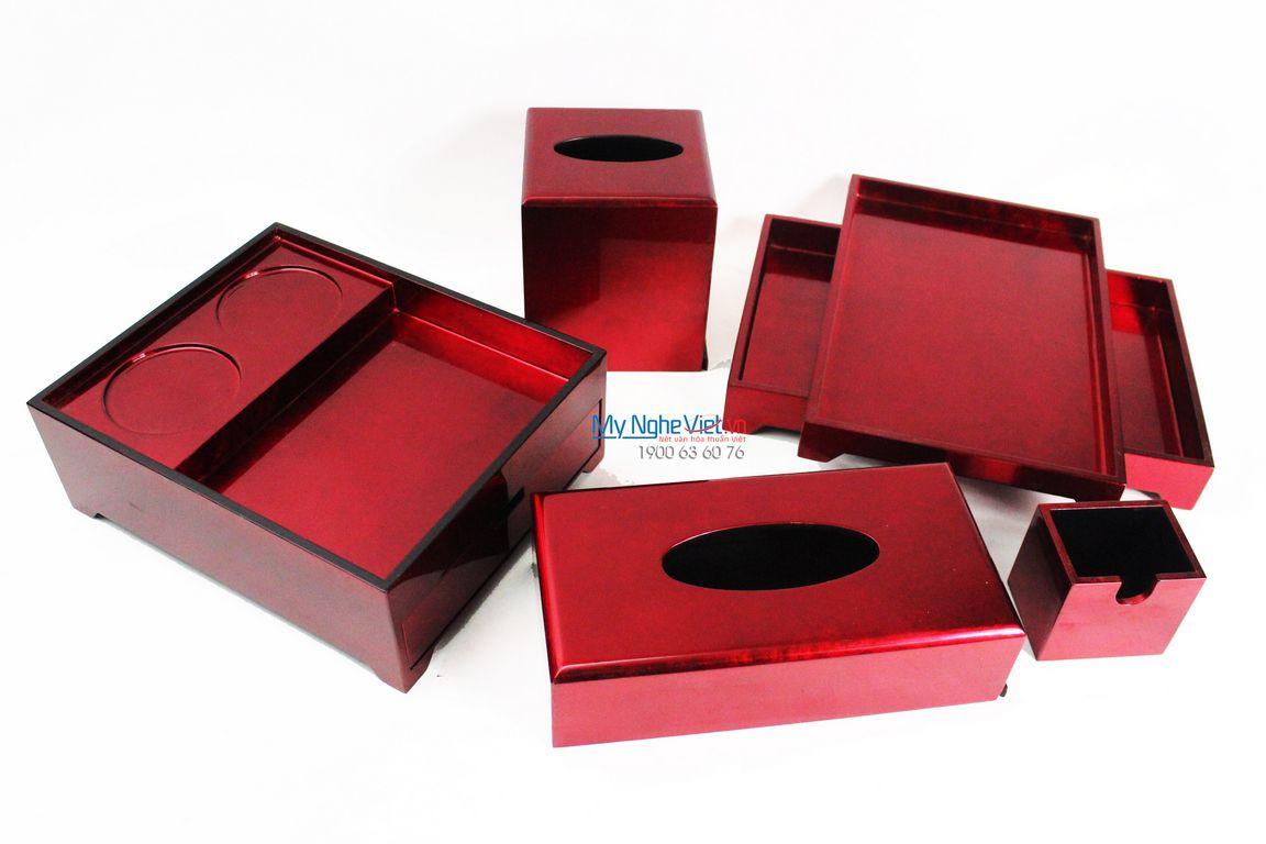 Khay hộp sơn mài nền đỏ đô MNV-BSM05