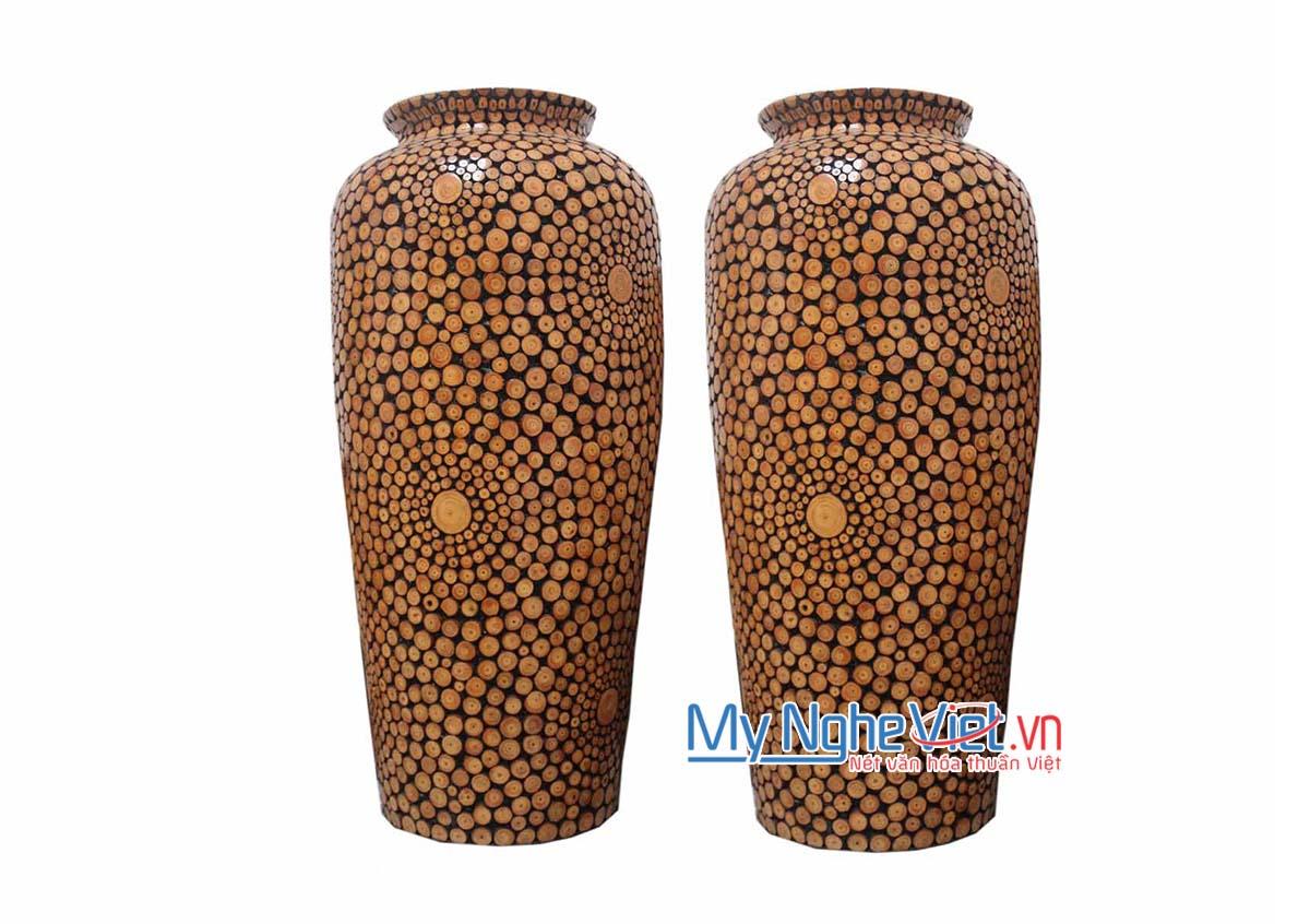 Lộc bình gốm đính gỗ MNV-LB45