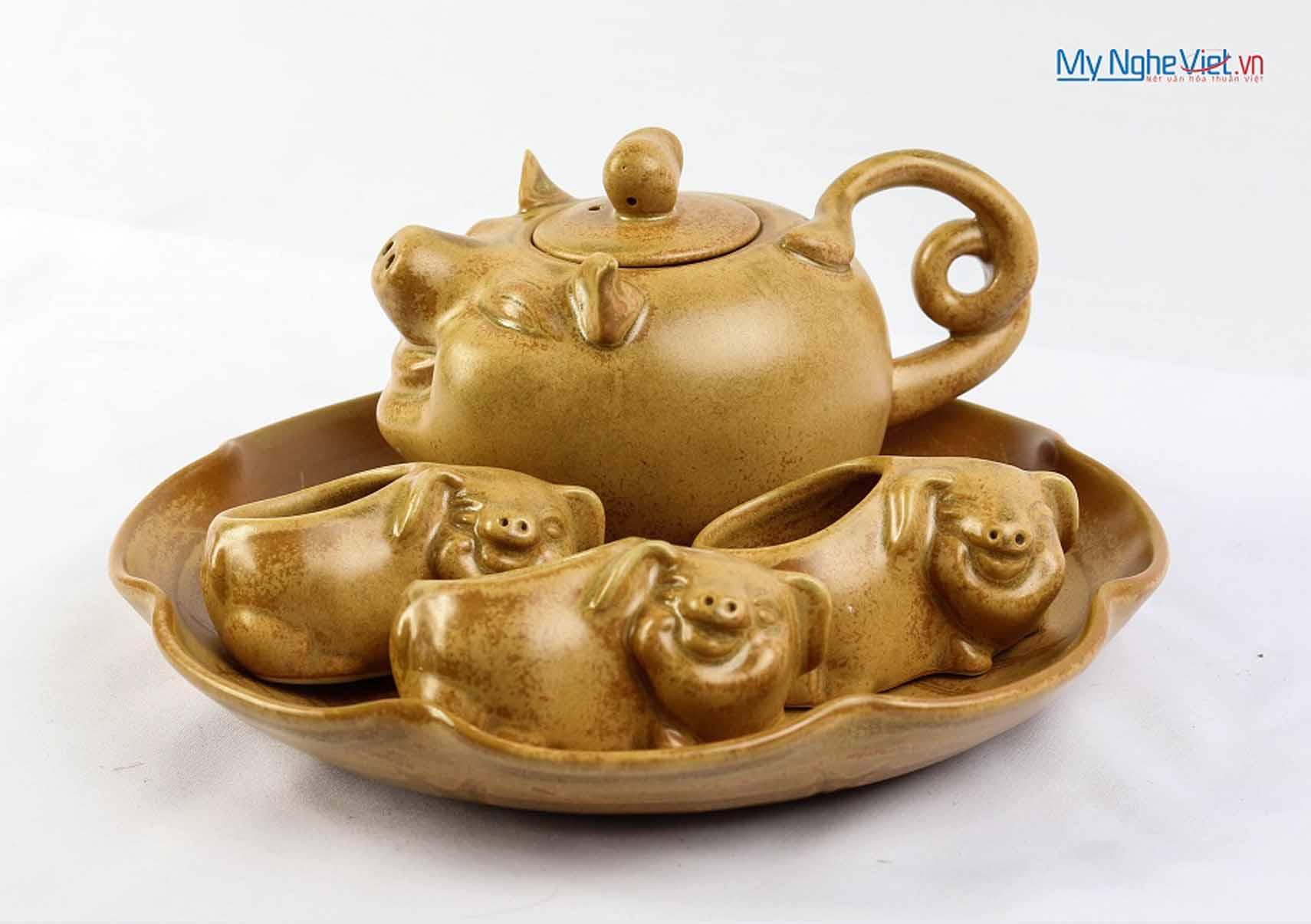 Bộ bình trà lợn con màu vàng MNV-TS054-1