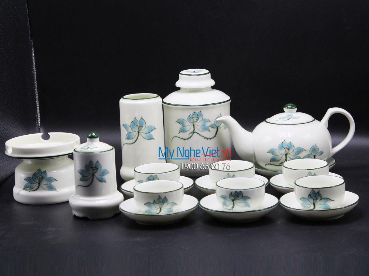 Bộ bình trà men trắng vẽ sen xanh MNV-CBBT01-1