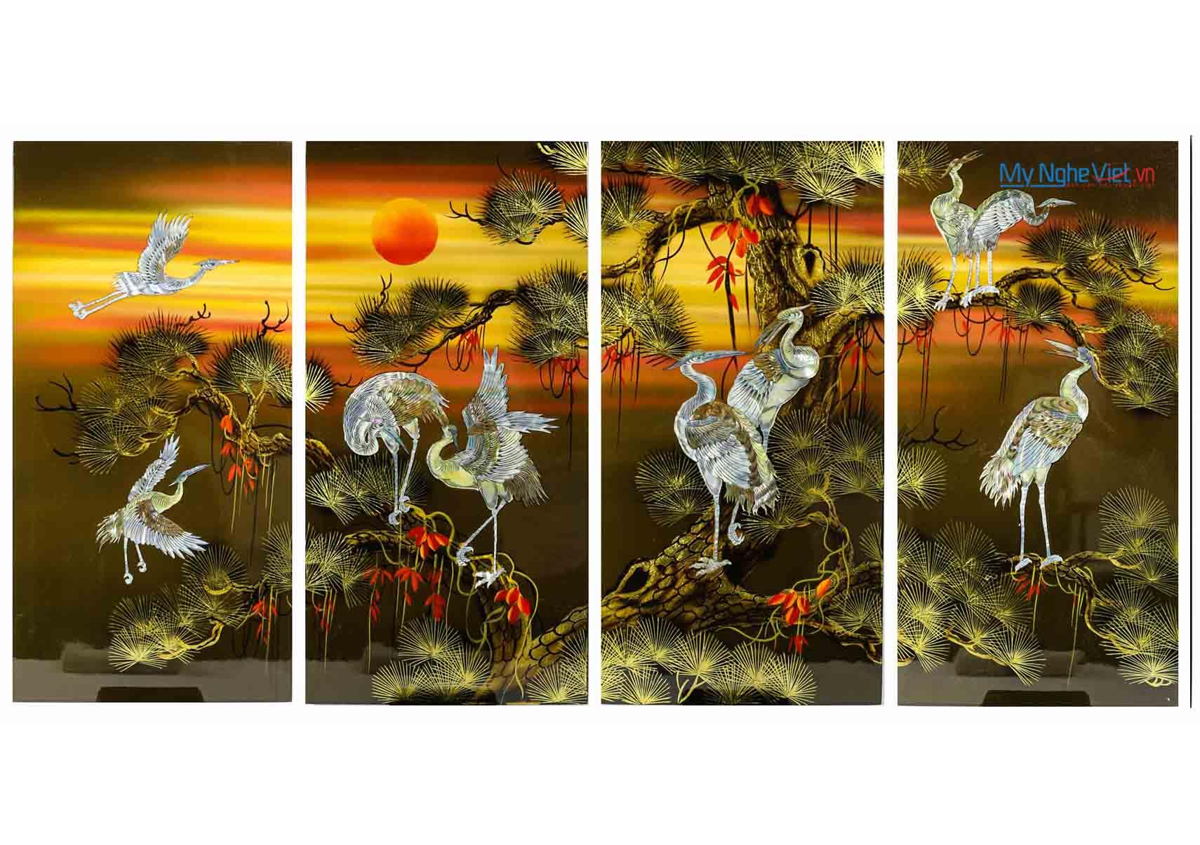 Bộ tranh sơn mài đàn hạc tiên (4 bức ghép) MNV-SMA47/1