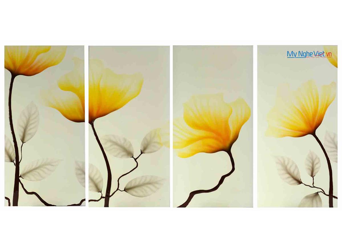 Tranh sơn mài bộ bốn vẽ hoa vàng MNV-SMA333