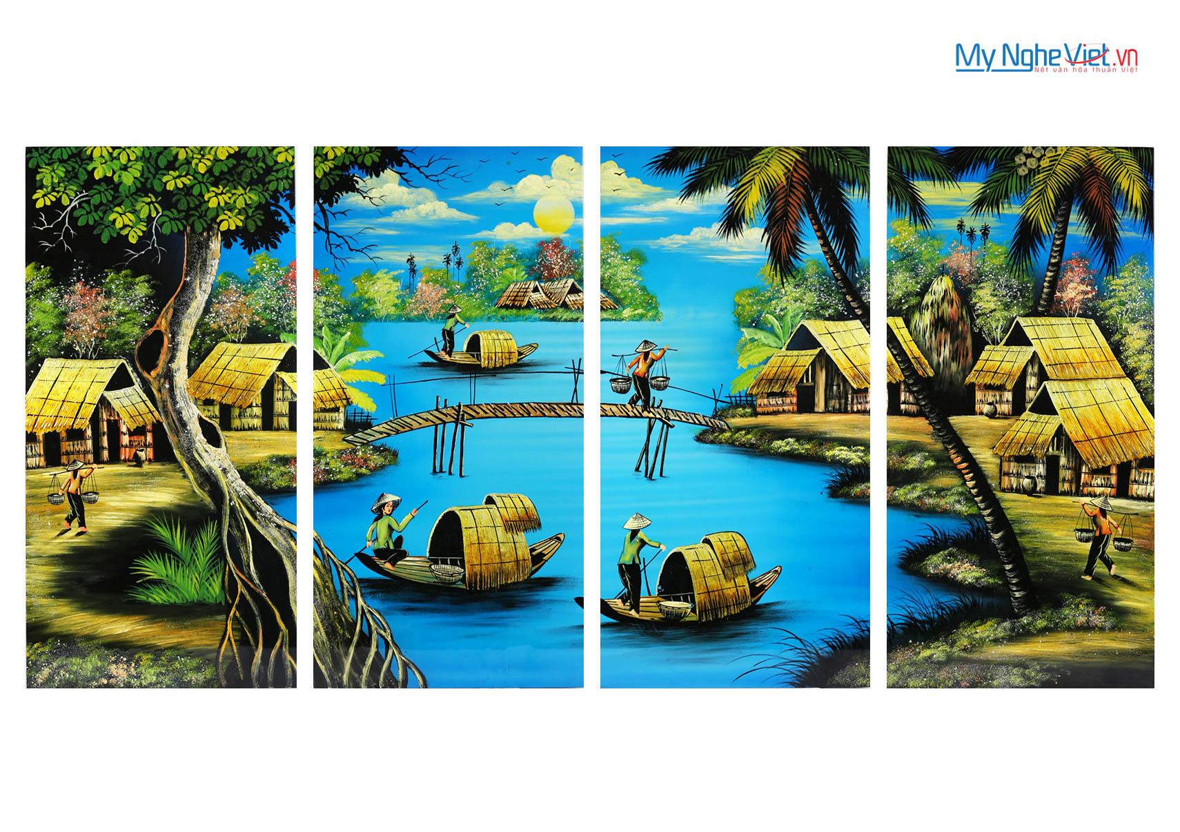 Bộ 4 tranh đồng quê vẽ - đắp nổi MNV-SMA441