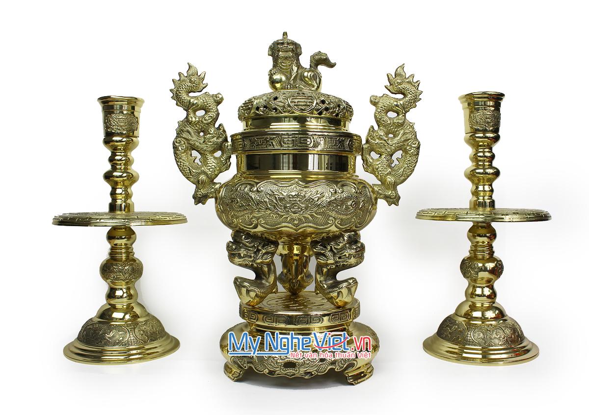 Bộ Lư đồng rồng và chân nến đồng tứ linh - Bộ thờ cúng MNV-DD19