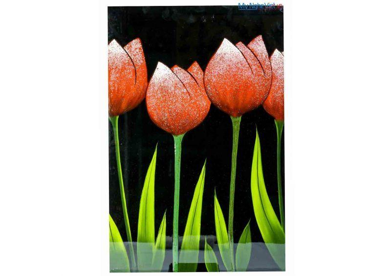 Tranh sơn mài hoa Tulip đỏ MNV-SMA260