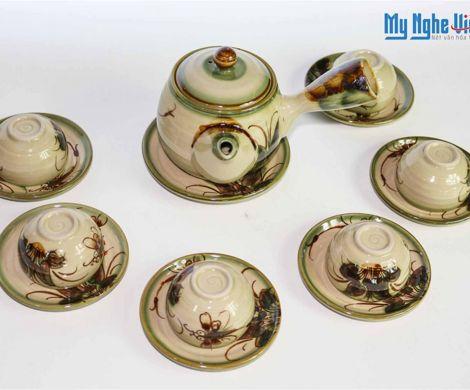 Bộ bình trà Bát Tràng men bóng quai chuối lớn vẽ chuồn chuồn MNV-TS028B