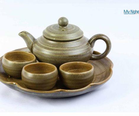 Bộ bình trà Bát Tràng tam khay gốm MNV-TS052