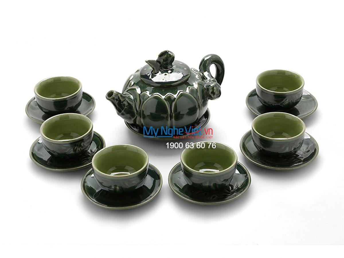 Bộ bình trà Bát Tràng sen xanh đồng MNV-TS484