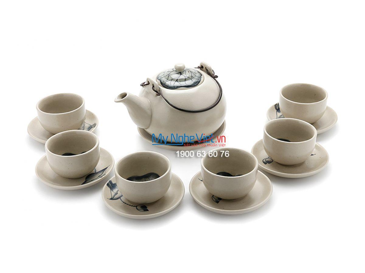 Bộ bình trà men rạn cốc nhỏ vẽ sen MNV-BT84