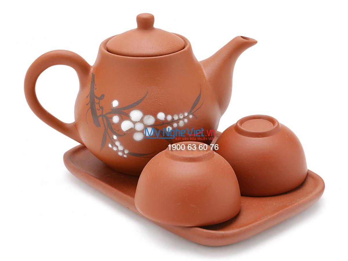 Bộ bình trà Bát Tràng nhị ẩm gốm Bát Tràng MNV-TS048-1
