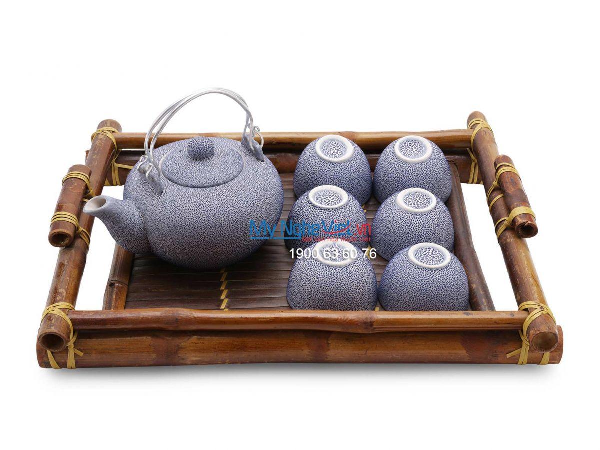 Bộ bình trà Bát Tràng men co xanh MNV-BT151