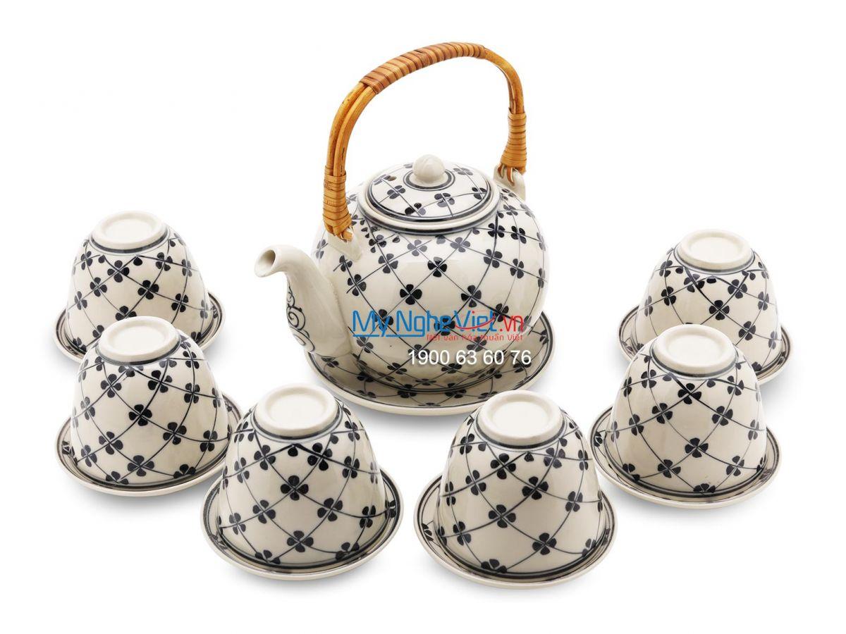 Bộ bình trà Bát Tràng bưởi to hoa sao MNV-BTS16