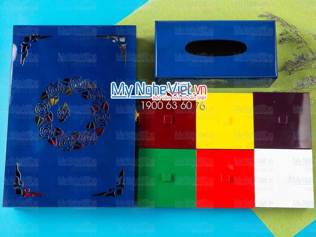 Bộ hộp đựng bánh trung thu 6 bánh + hộp khăn giấy chữ nhật khắc hoa hồng xanh MNV-QT006