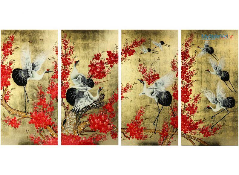 Tranh hoa đào và đàn Hạc tiên (4 tấm) MNV-SMA300
