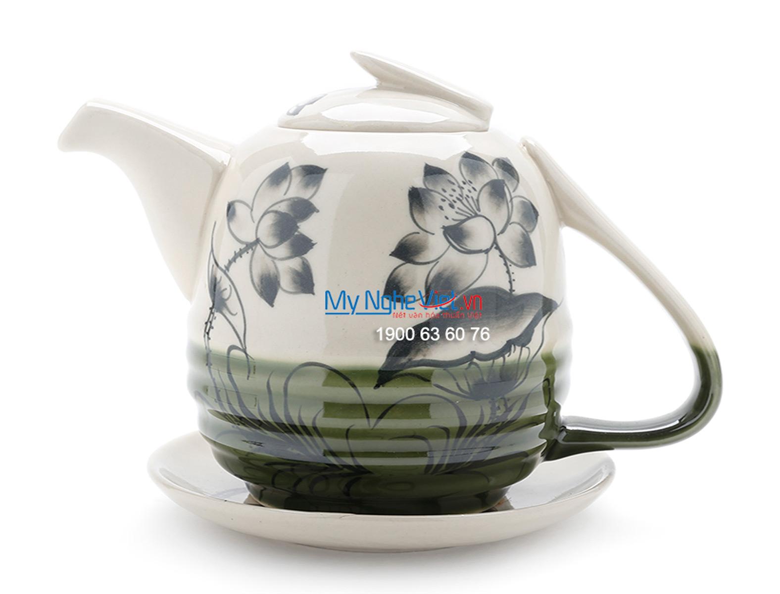 Bộ bình trà men bóng vẽ đầm sen MNV-TS476