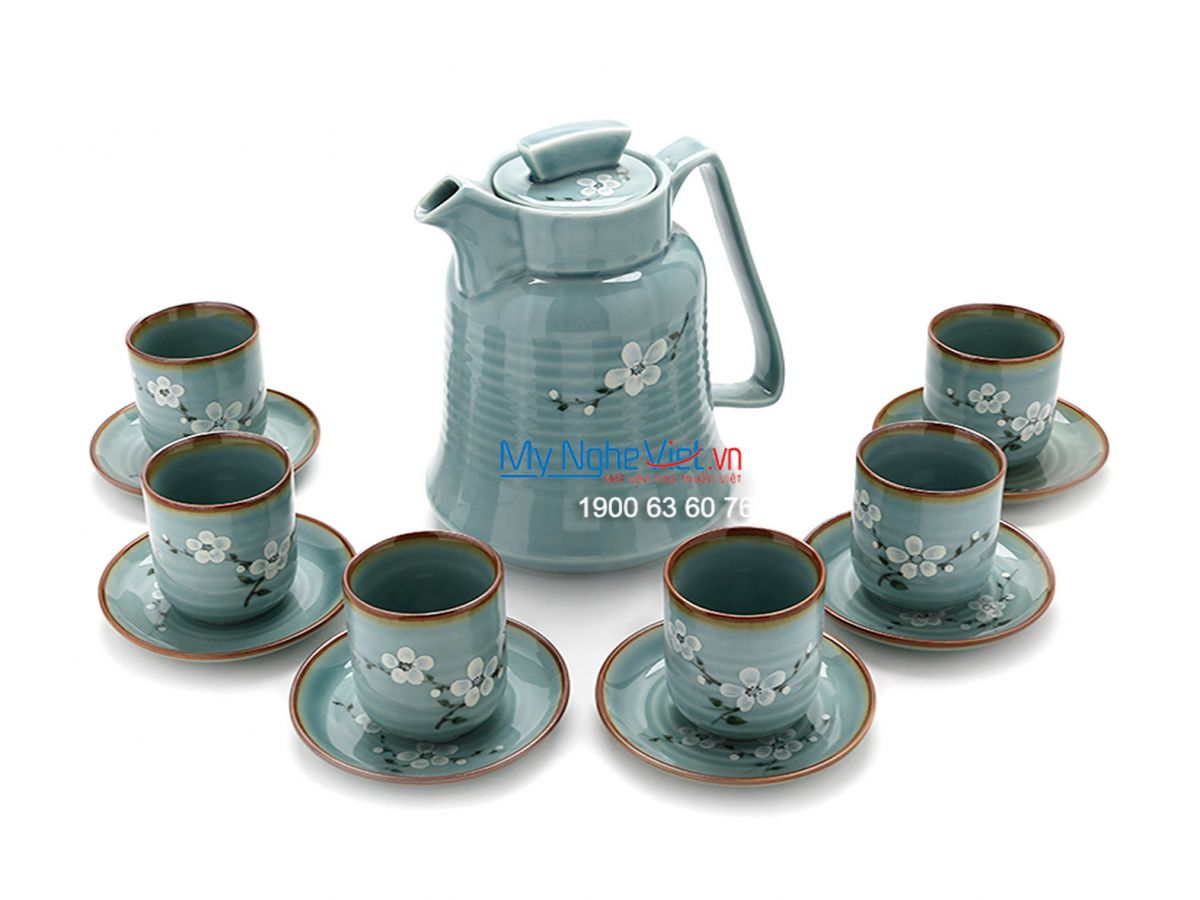 Bộ bình nước nhỏ cao cấp xanh lam vẽ hoa đào trắng MNV-TS446