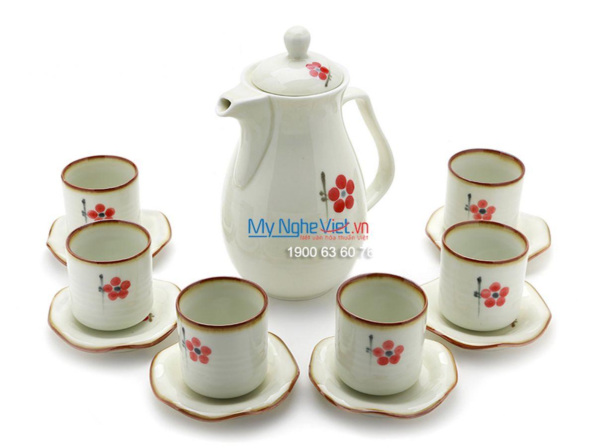 Bộ bình trà men trắng vẽ hoa MNV-TS445