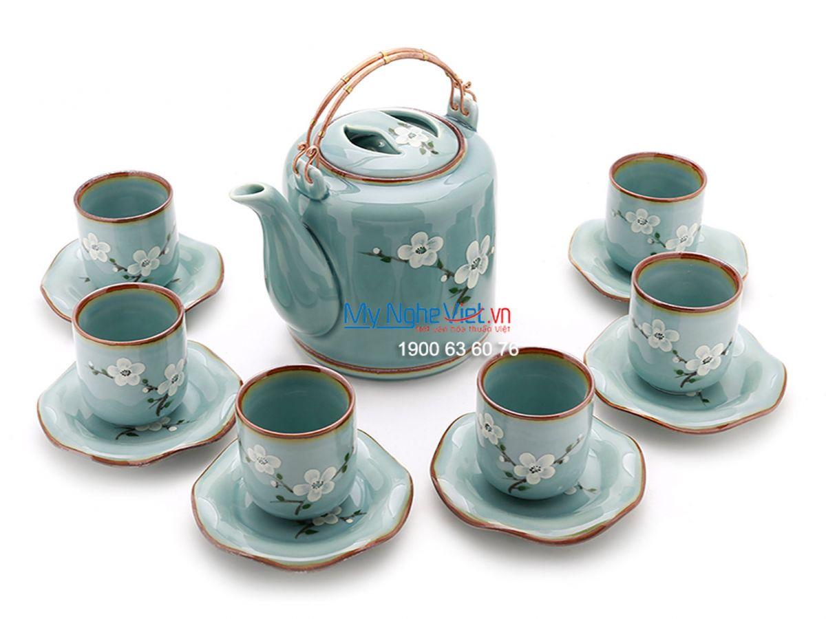 Bộ bình trà men xanh bóng vẽ hoa MNV-TS444