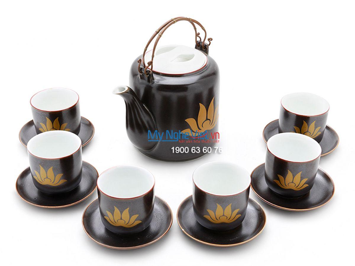 Bộ bình trà men bóng vẽ sen MNV-TS443