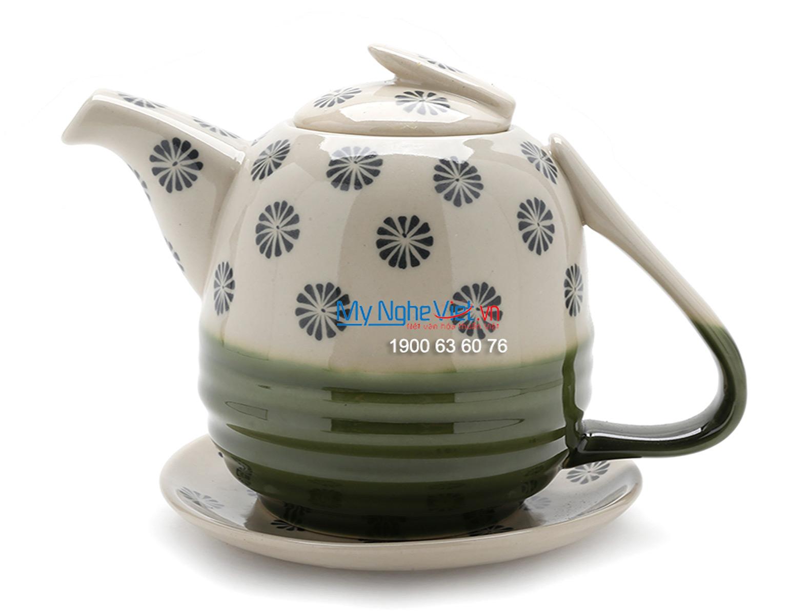 Bộ bình trà men bóng vẽ hoa thị MNV-TS477
