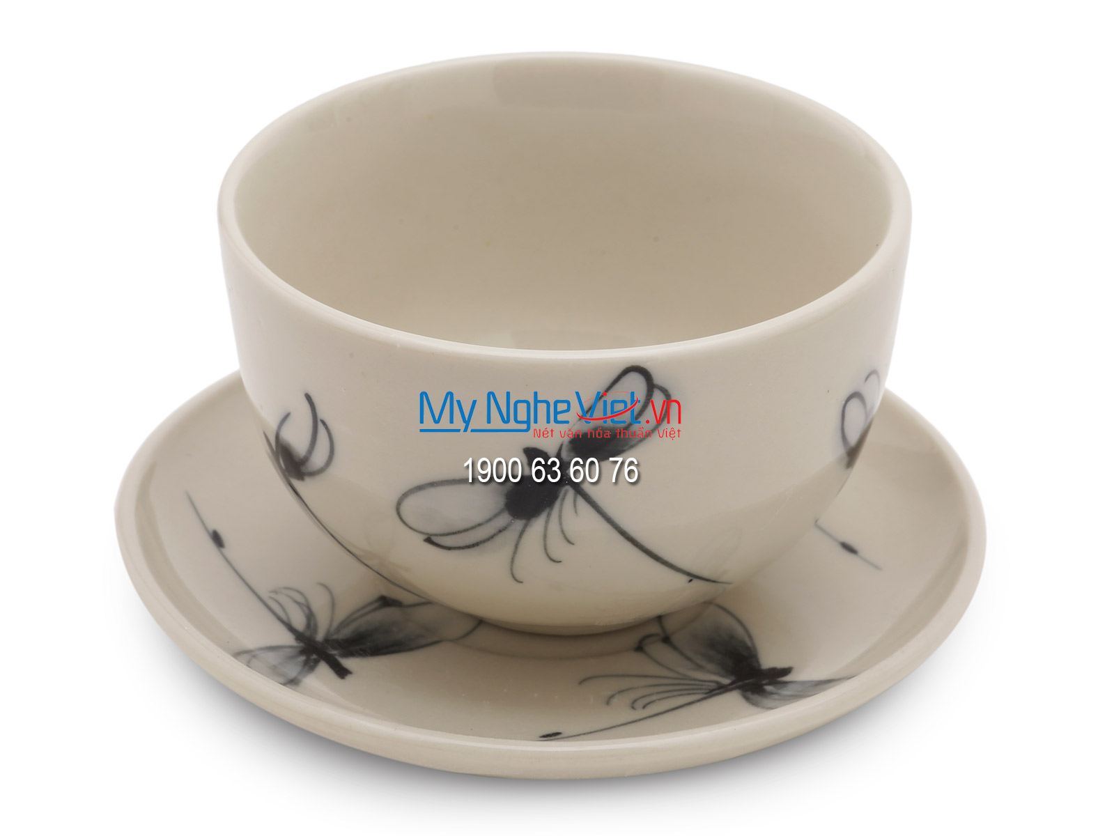 Bộ bình trà miệng vuông vẽ chuồn MNV-BTC02