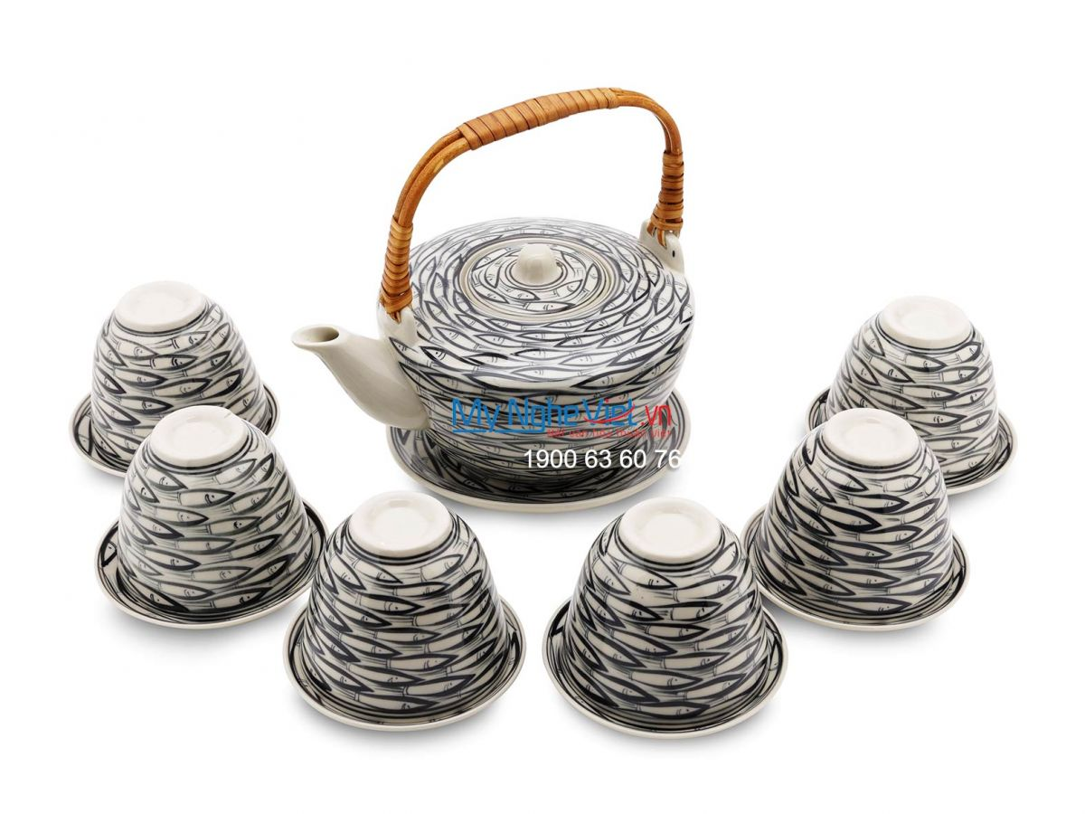 Bộ bình trà vát (Bộ hằng hợp) vẽ cá MNV-BTF03