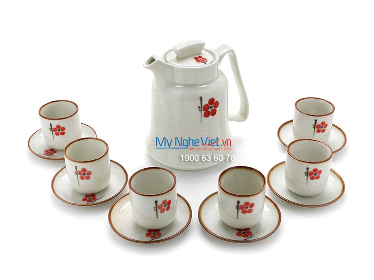 Bộ bình nước nhỏ cao cấp trắng vẽ hoa đào đỏ MNV-TS453