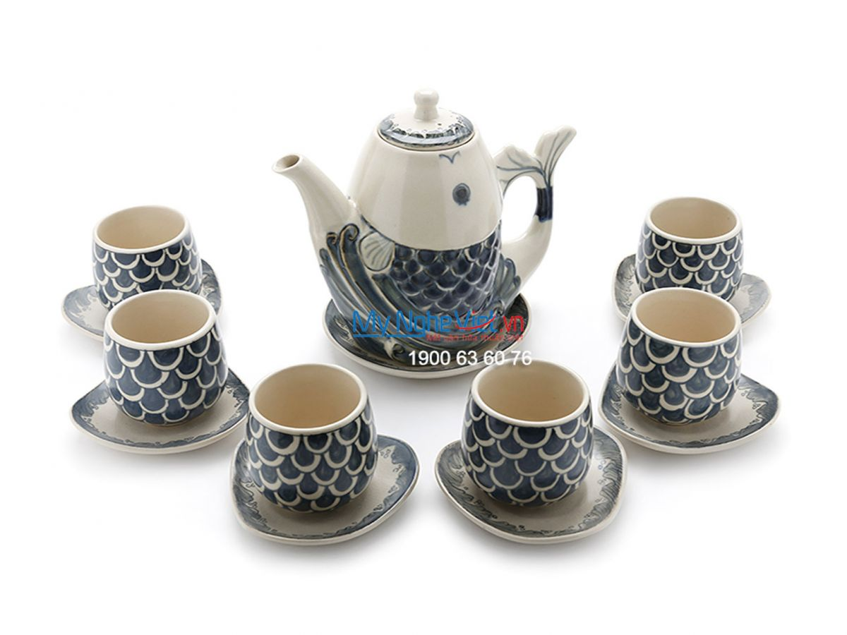 Bộ bình trà vẽ cá cao MNV-TS474