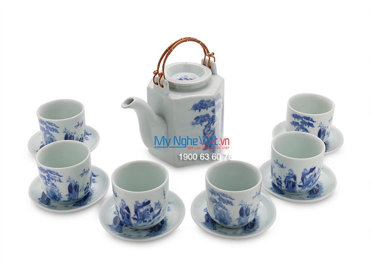 Bộ bình trà men trắng cao cấp dáng lục giác vẽ bát tiên MNV-TS448