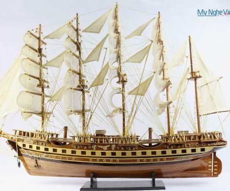 Mô hình tàu thuyền chở hàng France II gỗ tự nhiên (thân 80Cm) MNV-TB02
